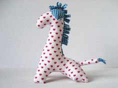 Stuffed giraffe with pink hearts and blue chequered ears - Baby shower gift - Handmade cute baby stuff - Cuddly toy -- by Mippoos