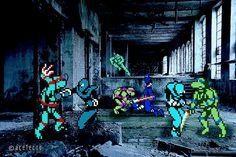 Classic Video Games With Real-Life Backdrops Are Delightful Teenage Turtles, Ninja Turtles 2, Teenage Mutant Ninja Turtles, Sprites, Bioshock Art, Classic Video Games, Interactive Art, Video Game Art, Tmnt