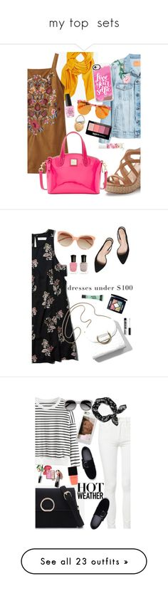 """""""my top  sets"""" by elliewriter ❤ liked on Polyvore featuring Base Range, Jennifer Lopez, Dooney & Bourke, Gentle Monster, Blossom, Maybelline, OPI, Casetify, Too Faced Cosmetics and Abercrombie & Fitch"""