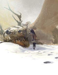 The Little Girl and the Dragon digital fantasy illustration by Adhesive Games artist jparked (John Park) of Chino Hills, California! Fantasy Kunst, 3d Fantasy, Fantasy Landscape, Fantasy World, Dark Fantasy, Fantasy Creatures, Mythical Creatures, Concept Art World, Dragon Art