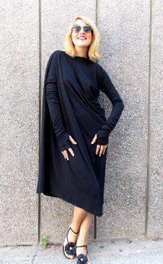 Black Maxi Dress / Asymmetric Plus Size Black Dress / от Teyxo