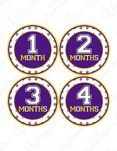 Monthly Onesie Baby Stickers  Geaux  Purple by LittleBabyBumblebee, $9.00