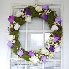 tutorials, moss wreath, spring diy, diy spring, craft idea, decor spring, tulips, spring wreaths, crafti idea