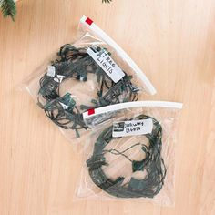 Love this as long as your storage is temperature controlled ~ think melted plastic bags in a hot attic. Store Christmas Lights in Labeled Plastic Bags