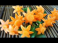 Art In Carrot Show - Vegetable Carving Carrot Flowers - Creative Garnish...