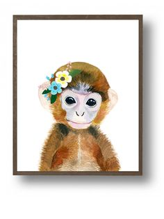 Baby animal : baby monkey  This is a print of my original watercolor painting. The colors are rich and vibrant and the print looks so much better in real life.  Materials: Printed on beautiful high quality, archival and acid free velvet fine art paper using professional Epson Ultra Chrome inks. Prints will be signed and dated on the back by me.  Size: Available in 4 sizes! (5x7, 8x10, 11x14, 13x19) Please make your selection from the drop-down menu at check out.   Shipping: Each print will…