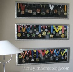 A great way to display running and marathon medals with a tutorial on how to make your own.