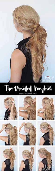 Glam Ponytail Tutorials - BRAIDED PONYTAIL HAIRSTYLE TUTORIAL - Simple Hairstyles and Pony Tails, Messy Buns, Dutch Braids and Top Knot Updo Looks - With and Without Bobby Pins - Awesome Looks for Short Hair and Girls with Curls - thegoddess.com/glam-ponytail-tutorials