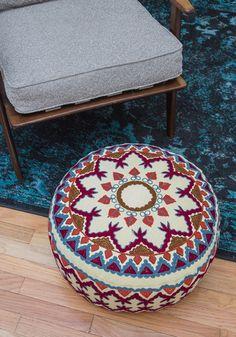 Boho Abode Pouf by Karma Living - Multi, Boho, Dorm Decor, Cotton, Daytime Party, Mid-Century, Festival