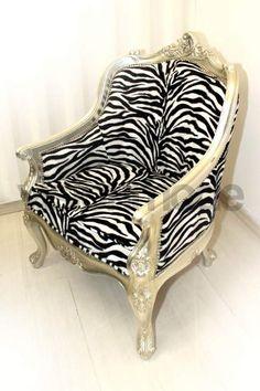 Poltrona stile rococò argento zebrate