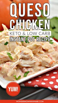This instant pot queso chicken is crazy easy to make and so yummy! even better if youre trying to watch your carbs or are ing a keto diet you can enjoy this dish guilt free ketorecipe instantpot lowcarbrecipe quesodip spicy tuna salad Low Carb Chicken Recipes, Low Carb Recipes, Diet Recipes, Keto Chicken, Healthy Recipes, Healthy Nutrition, Recipies, Cheap Recipes, Lamb Recipes