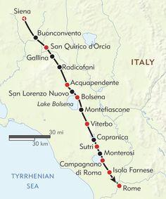La Via Francigena route-map