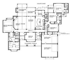 Floor Plans AFLFPW75774 - 1 Story Ranch Home with 4 Bedrooms, 3 Bathrooms and 3,258 total Square Feet