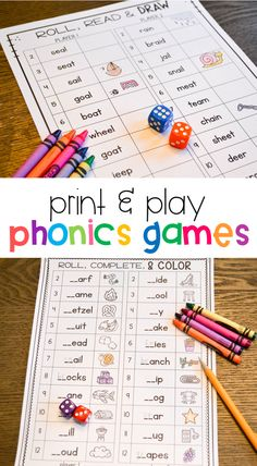 Yons of phonics games that are ready to print and play - no prep required! Students practice long and short vowels, consonant blends, and digraphs with these fun games! Phonics Games, Phonics Reading, Teaching Phonics, Kindergarten Literacy, Reading Activities, Literacy Activities, Teaching Reading, Preschool, Kids Reading Games