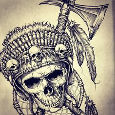 No automatic alt text available. Native American Tattoos, Native Tattoos, Dope Tattoos, Native American Art, Body Art Tattoos, Sleeve Tattoos, Tattoos For Guys, American History, Indian Skull Tattoos