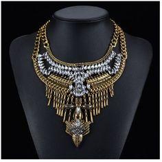 Hawks + Cross Gold w/ Clear Stones