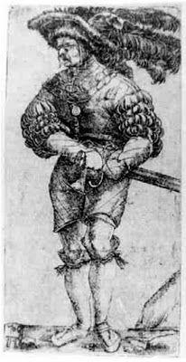 Landsknecht by Albrecht Altdorfer, 1506 - short socks gartered at the knees.