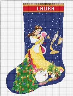 Christmas Sock Disney Princess Belle Beauty and the Beast 815 Modern Cross Stitch Pattern Cross Stit Cross Stitch Christmas Stockings, Cross Stitch Stocking, Christmas Stocking Pattern, Christmas Sock, Beauty And The Beast Cross Stitch, Disney Stockings, Christmas Tree Canvas, Cross Stitch Material, Disney Stained Glass