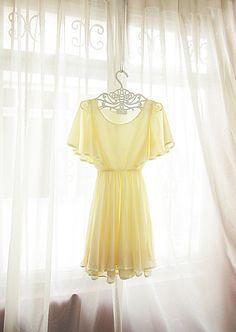 Chiffon Pale Yellow Dress by RiverOfRomansk Pale Yellow Dresses, Pastel Yellow, Shades Of Yellow, Mellow Yellow, Yellow Cottage, Rose Cottage, Grecian Goddess, Yellow Fashion, Mannequins