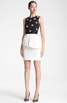 Jason Wu Embroidered Peplum Sheath Dress available at Nordstrom