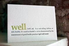 letterpress card. get well soon. definition by shopsaplingpress, $4.50