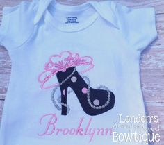 Tiara Heel~Personalized Embroidered T-shirt/ Toddler T-shirt - pinned by pin4etsy.com Shirt Pins, Iron On Patches, Lace Trim, Onesies, T Shirts For Women, Embroidery, Trending Outfits, Heels, Cotton