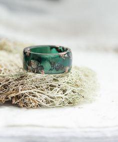Big Size Men Ring Dark Jade Green Resin Ring Gold Flakes huge