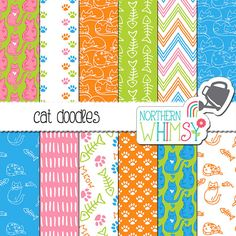 Bright Digital Paper - hand-drawn cat patterns in pink, orange, lime green & blue - cat scrapbook paper - seamless patterns - commercial use