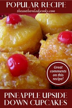 Cooked Pineapple, Pineapple Upside Down Cupcakes, Pineapple Desserts, Pineapple Recipes, Pineapple Cake, Cupcake Recipes, Baking Recipes, Cupcake Cakes, Sweets Recipes