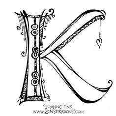 Joanne Fink's monogram page. Shows how the letters look as black & white as well as colour Hand Lettering Alphabet, Doodle Lettering, Alphabet Design, Alphabet Art, Creative Lettering, Lettering Styles, Graffiti Lettering, Calligraphy Letters, Letter Art