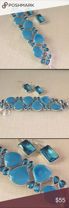 JUST IN gorgeous bracelet earrings set Beautiful design sleeping beauty turquoise and London blue topaz stones artisan handcrafted total carat weight is 335 grams of lab created stones silver stamped inlay fits to 8'1/2 earrings approximately 2' long giro set NWOT Jewelry Bracelets