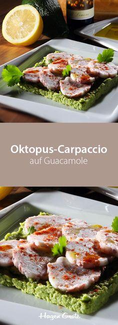 Oktopus-Carpaccio auf Guacamole
