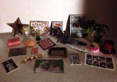 Dollhouse Miniature Assorted Vintage Photos Tin Tray Star Flowers Misc Home Lot