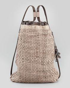 henry beguelin woven leather backpack tote bag via harrislove.com