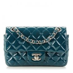 1246b7a13c09 CHANEL Patent Calfskin Quilted Rectangular Mini Flap Turquoise ❤ liked on  Polyvore featuring bags, handbags