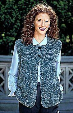 Garter Yoke Vest pattern by Lion Brand Yarn - Knitting patterns, knitting designs, knitting for beginners. Crochet Vest Pattern, Loom Knitting Patterns, Crochet Shawl, Knitting Designs, Knitting Yarn, Free Knitting, Knit Crochet, Crochet Patterns, Crochet Vests