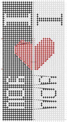 Alpha Pattern added by PinkFluffy String Bracelet Patterns, Diy Bracelets Patterns, Diy Bracelets Easy, Woven Bracelets, Bracelet Crafts, Bracelet Designs, Handmade Bracelets, Modele Pixel Art, Diy Friendship Bracelets Patterns