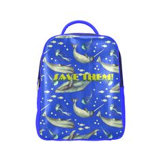 PiccoGrande`s Save the Ocean whales-jellyfish-full-blue-yellow Popular Backpack (Model Popular Backpacks, Mouth Mask Fashion, Save Our Oceans, Cute Photos, Whales, Jellyfish, Vera Bradley Backpack, Dog Friends, Dog Mom
