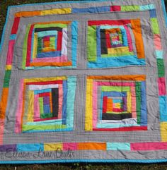 I like the sashing & borders, and the all solid quilt.  Ellison Lane Quilts: Wonky Log Cabin Tutorial