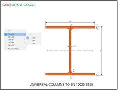 Steel Sections: EU: Universal Columns to EN 10025 Grade Steel Properties, Cad Blocks, Autocad, Type 1, Editor, 2d, Tables, The Unit, Mesas