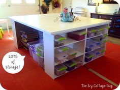 DIY Crafting Table ~ loads of storage and the breakdown of the two tables in the next pic BUT what a fabulous cutting out and assembling table!  Love this