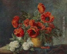 """""""stillleben Mit Rotem Mohn"""" oil painting reproduction by Max Theodor Streckenbach - NiceArtGallery.com"""
