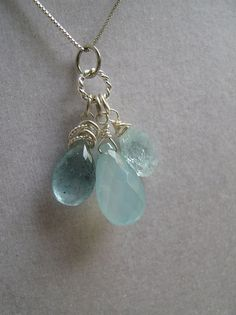 SALE Wrapped Moss Aquamarine Hammered Aquamarine and by christieg