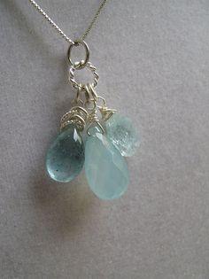 """beautiful gemstone pendant. * $21.00 #etsy #aquamarine Might be beautiful for your """"something blue"""""""