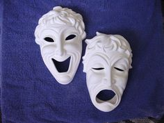 Drama Mask Ready to Paint Ceramics by JCArtandCeramics on Etsy, $14.00