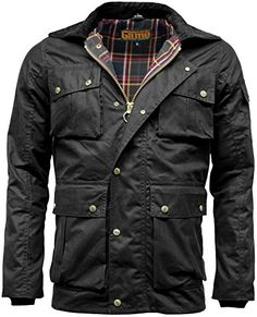 Mens Game Utilitas Waxed Cotton Wax Jacket Muliti Pocket (Small, Black)