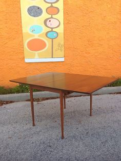 Mid Century Modern Walnut Drop Leaf Dining Table