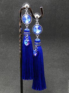 Купить Серьги-кисти Swarovski - тёмно-синий, Сваровски, сваровски купить, swarovski, шелковые кисти