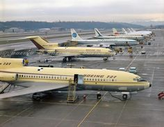 First and Second Boeing on Boeing Flight Line with Cargo Aircraft, Boeing Aircraft, Boeing Planes, Boeing 707, Airplane Photography, Air Photo, Commercial Aircraft, Civil Aviation, Nice