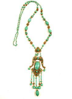 Vintage c1920-1930 Art Deco Long Green Czech Glass Filigree Necklace Neiger*E502